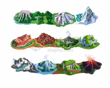 各种山脉高山大山卡通插画229887png矢量图片素材