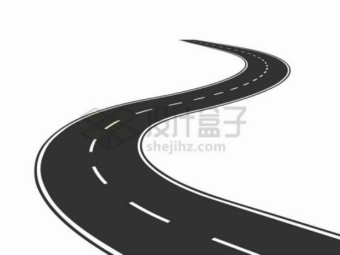 通向远方的公路S型马路png图片免抠矢量素材