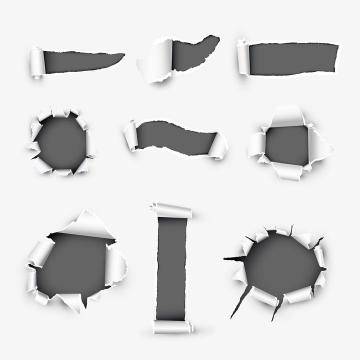 各种卷曲的撕纸和破纸效果图片免抠矢量素材