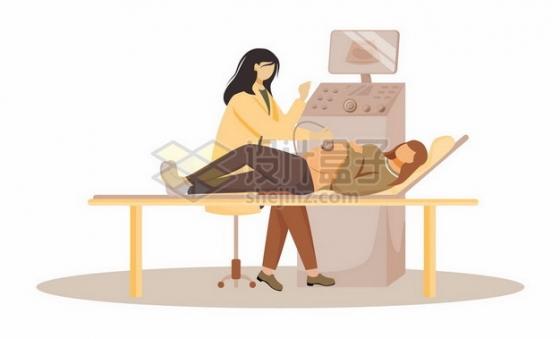 卡通孕妇在医院接受孕检png图片素材