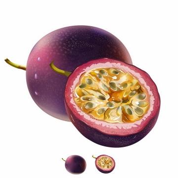 切开的百香果美味水果横切面png图片免抠矢量素材