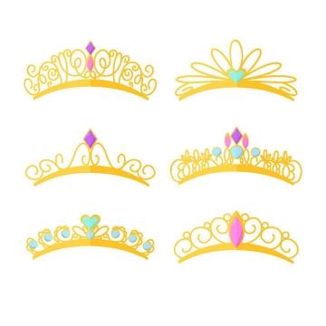 6款金色皇冠头饰头箍图案免抠矢量图片素材