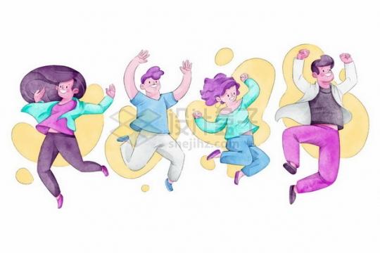 兴奋得跳起来的年轻人彩绘插画426917png图片素材