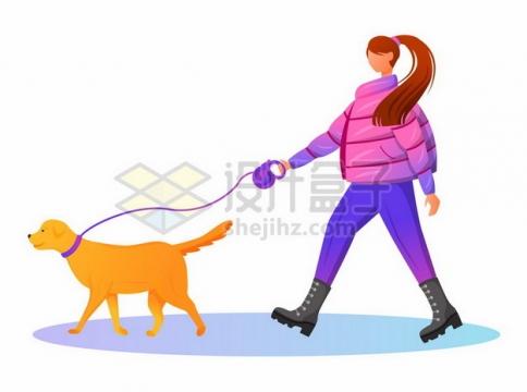 卡通女孩牵着狗遛狗png图片素材