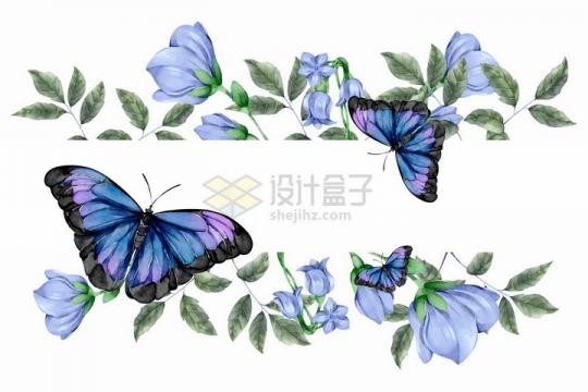 曼陀罗花朵树叶和紫色蝴蝶标题框png图片免抠矢量素材