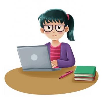 卡通女孩正在用电脑学习697216png图片素材