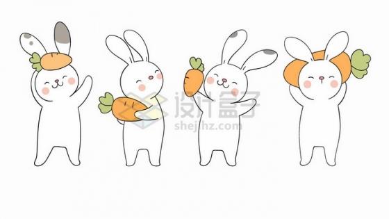 4款超可爱拿着胡萝卜的卡通小白兔png图片免抠矢量素材