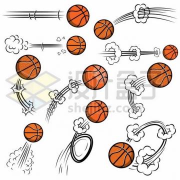 各种飞行中的篮球漫画插画807560免抠矢量图片素材