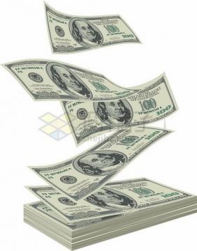 一沓100美元钞票纸币和飘起来的钞票png图片素材
