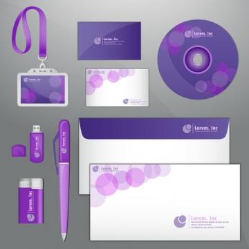 紫色光盘U盘打火机信封身份挂牌等企业VI设计模板482209图片素材