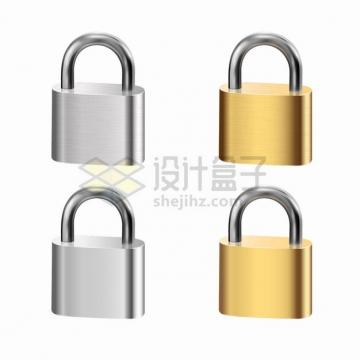 4款银色和金色拉丝金属光泽门锁挂锁png图片素材