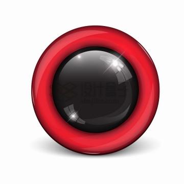 红色玻璃边框黑色圆形水晶按钮png图片素材