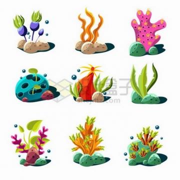 卡通水草海带珊瑚等水族馆装饰png图片免抠矢量素材