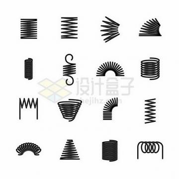 16款不同形状的黑色弹簧png图片免抠矢量素材