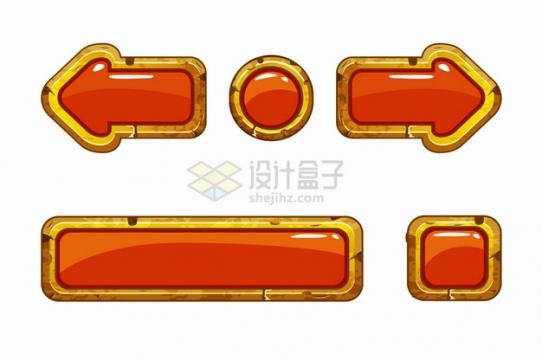 金色金属边框红色水晶按钮游戏方向键png图片素材