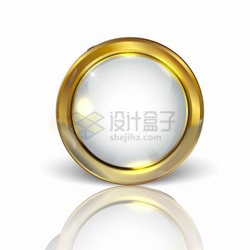 金属金色边框的白色圆形水晶按钮png图片素材