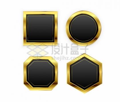 4款金色金属色边框的黑色按钮文本框信息框标题框402039png矢量图片素材