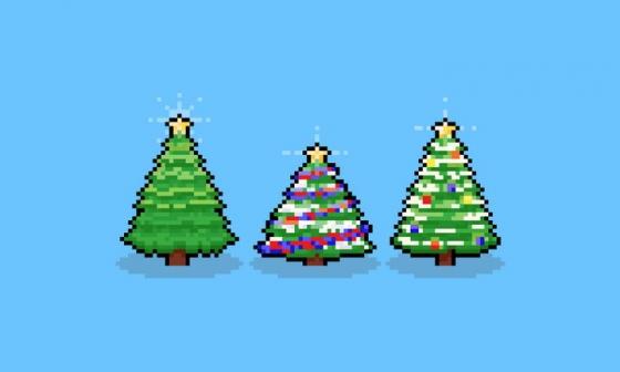 像素风格圣诞节装饰圣诞树图片免抠素材