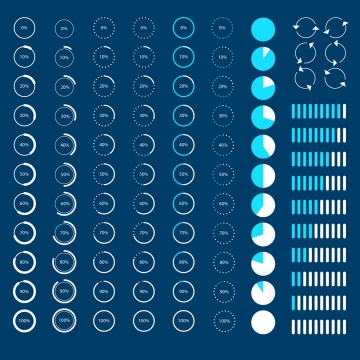 各种扁平化带百分比环形加载进度条loading设计png图片免抠eps矢量素材