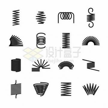 16款不同弯曲状态的黑色弹簧png图片免抠矢量素材