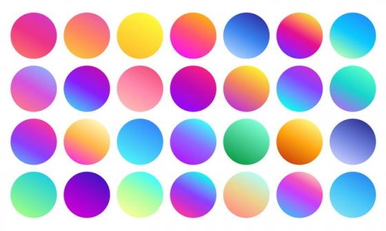 28款渐变色风格圆形按钮图片免抠矢量图