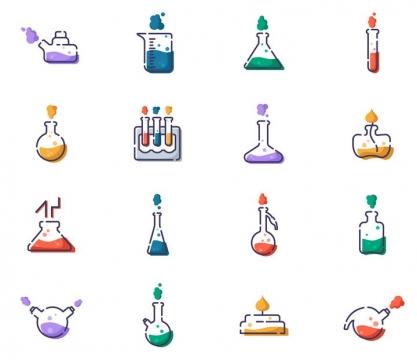 16款点线风格化学实验室实验器材烧杯试管icon图标图片免抠矢量图
