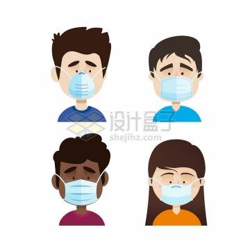 预防流感和新型冠状病毒戴口罩的人png图片免抠矢量素材