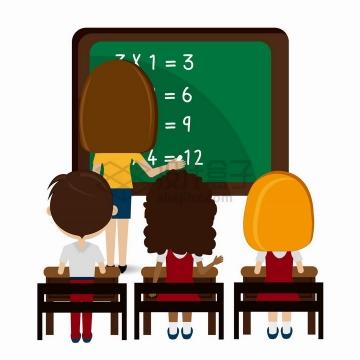 卡通老师正在黑板上板书孩子们在下面认真听讲png图片免抠矢量素材