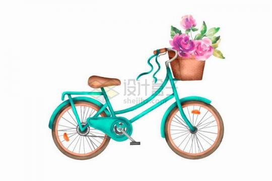 彩绘风格绿色自行车和车篮中的鲜花png图片免抠矢量素材