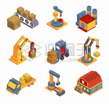 2.5D风格传送带上的货物工业机器人仓库小货车等物流快递行业png图片免抠矢量素材