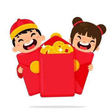 中国传统新年春节收到红包的卡通小男孩小女孩png图片免抠矢量素材