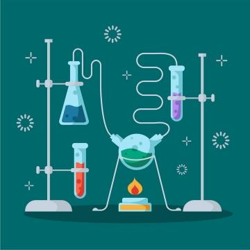 扁平化风格化学实验过程配图插图图片免抠矢量图
