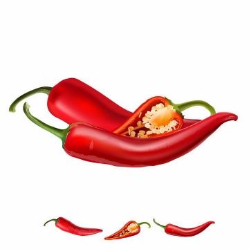 切开的红色尖辣椒横切面美味蔬菜