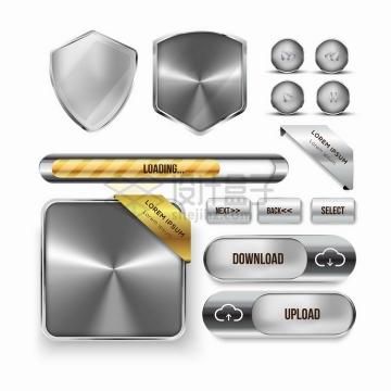 各种金属银色盾牌播放按钮下载按钮等png图片素材