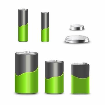各种逼真的绿色电池和纽扣电池png图片免抠eps矢量素材