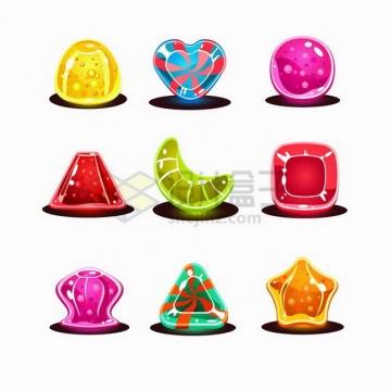 9款不同形状的卡通水晶宝石游戏道具png图片免抠矢量素材