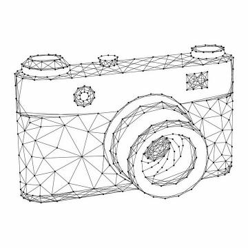 黑色点线组成的数码单反照相机png图片免抠矢量素材