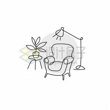 线条沙发电灯和盆栽733371png矢量图片素材