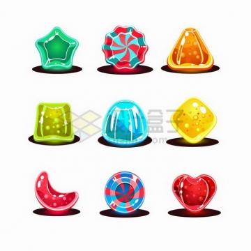 9款五角星三角形月牙形心形等卡通水晶宝石游戏道具png图片免抠矢量素材