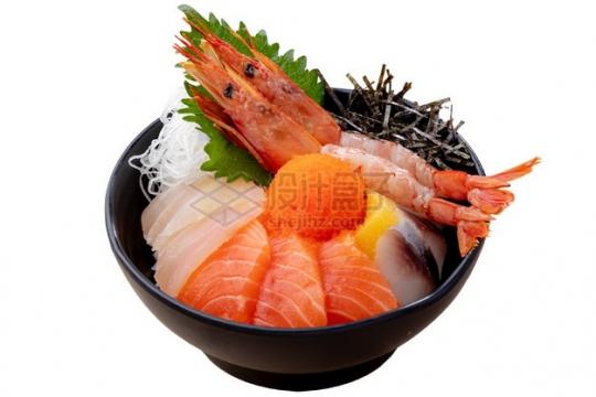 赤海虾三文鱼丼饭日式料理png图片素材