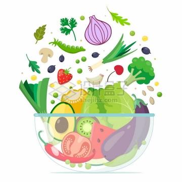 透明玻璃盘中的蔬菜水果色拉美味美食png图片免抠矢量素材