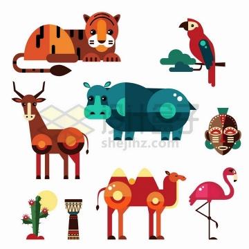 老虎鹦鹉犀牛骆驼火烈鸟等几何形状扁平化风格野生动物png图片免抠矢量素材