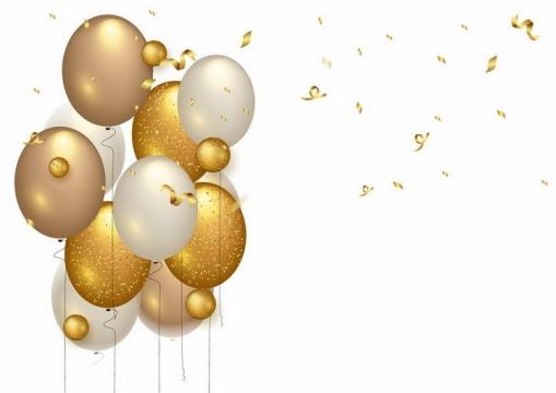 金黄色的气球和金色飘带装饰条png图片免抠矢量素材