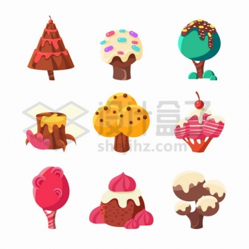 9款巧克力蛋糕组成的各种卡通大树png图片素材