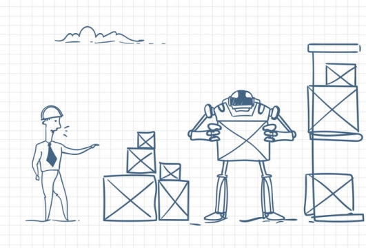 圆珠笔画涂鸦风格正在指挥机器人装货职场人际交往配图图片免抠矢量素材
