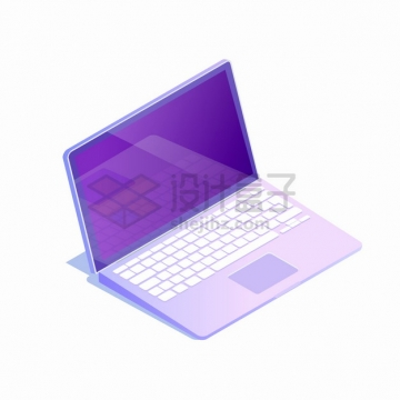 2.5D风格女性使用的紫色笔记本电脑png图片素材