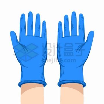 卡通手绘风格蓝色丁晴医用手套png图片免抠矢量素材