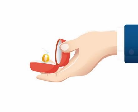 卡通男士手上打开的红色戒指盒和求婚戒指png图片免抠矢量素材