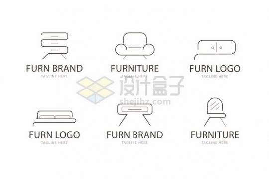 6款简约线条柜子沙发双人床茶几梳妆台图标410142png矢量图片素材
