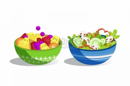 2款花纹陶瓷碗中的水果拼盘和蔬菜色拉美味美食png图片免抠矢量素材